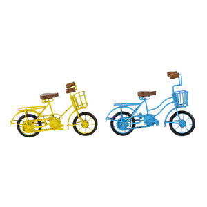 2 Assorted Bicycle Decor, Blue And Yellow