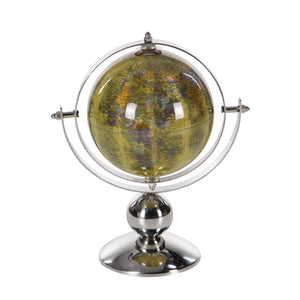 Table Top Pvc Globe In Stainless Steel, Silver And Yellow