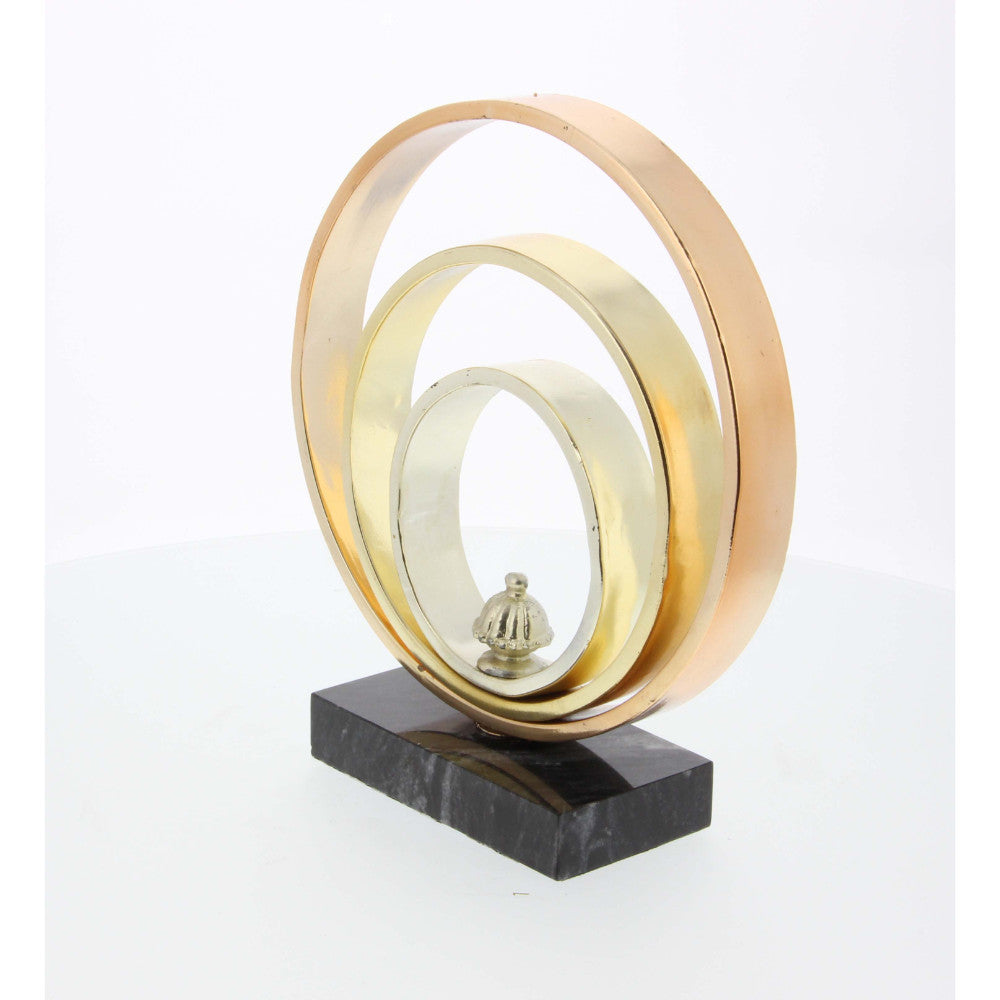 Tricolor Metal Ring Sculpture With Marble Base 9