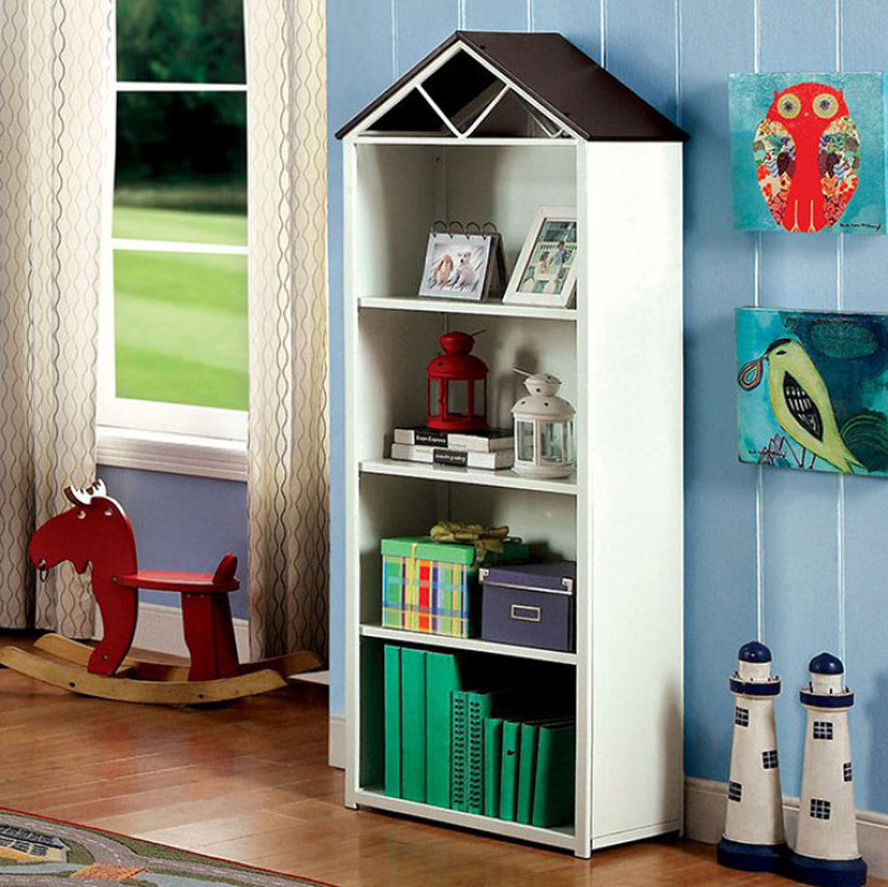 Fortress Transitional Style Book Shelf, Chocolate & White