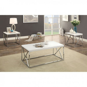Kuzen Contemporary Style 3 Piece Table Set, White
