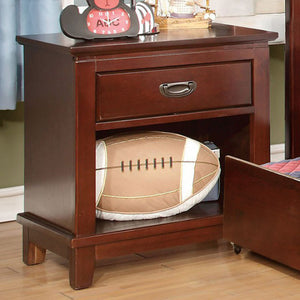 Colin Transitional Style Night Stand, Cherry Finish
