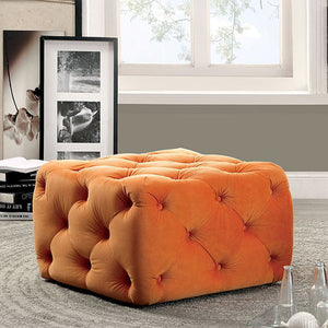Sonja Contemporary Style Ottoman, Orange