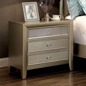 Briella Transitional Night Stand In Metallic Finish