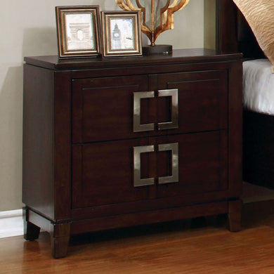 Balfour Transitional Night Stand In Brown Cherry Finish