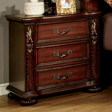 Arthur Traditional Night Stand In Brown Cherry Finish
