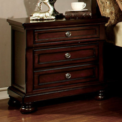 Northville Transitional Night Stand In Dark Cherry Finish