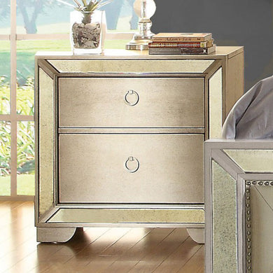 Loraine Night Stand With Antique Mirror, Silver Gray Finish