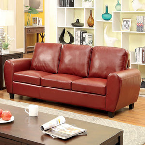 Hatton Contemporary Style Leatherette Sofa, Mahogany Red