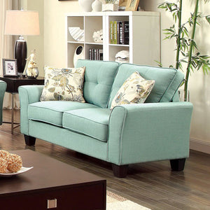 Claire Transitional Love Seat, Blue