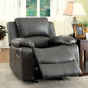 Sarles Transitional Gray Bonded Leather Recliner