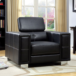 Garret Contemporary Style Black Leather Chair