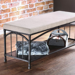 Itzel Industrial Design Bench , Dark Oak
