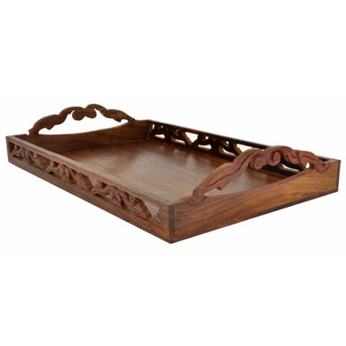 Wooden Trays with Handles Decorative Ottoman Tray 17 x 11 Inch Large Wood Serving