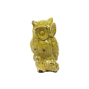 Resting Ceramic Owl Figurine on Branch - Green - Benzara