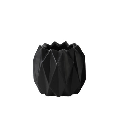 Chic Round Short Vase Ribbed Body Design - Black - Benzara
