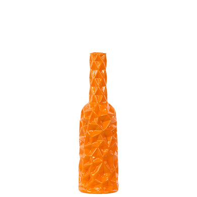 Medium Artistic Round Bottle Vase with Wrinkled Sides - Orange