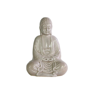 Peaceful Buddha Figurine in Mida-No Jouin Mudra - Cream - Benzara