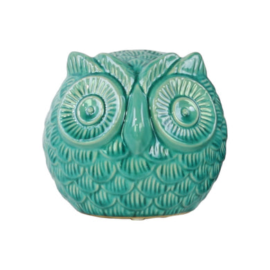 Hypnotic Eyes Large Spherical Owl Figurine - Blue - Benzara