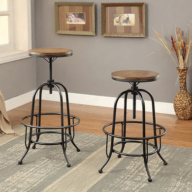 Silvia I Industrial Barstool, Medium Oak Finish, Set Of 2