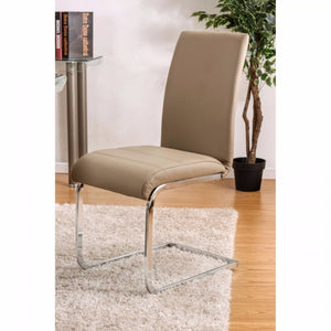 Walkerville I Contemporary Side Chair, Chrome & Champagne, Set Of 2