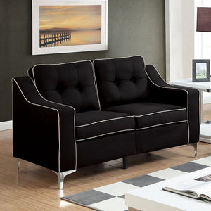 Glenda Contemporary Loveseat, Black Finish