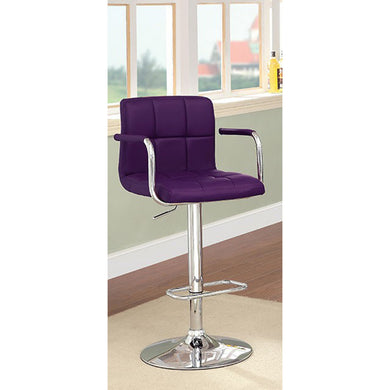 Corfu Contemporary Bar Stool With Arm In Purple Pu