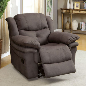 Jaden Transitional Comfy Recliner, Ash Brown