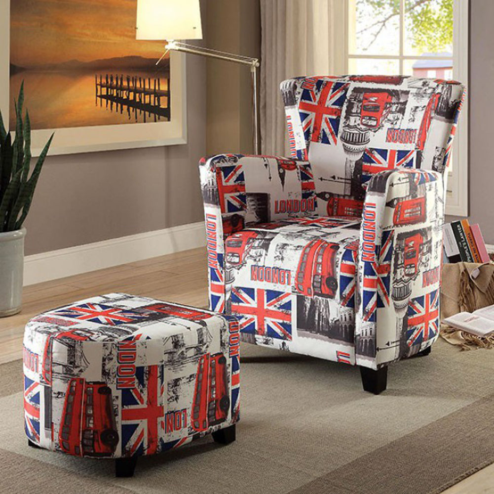 Leicester Contemporary Chair With Half Round Ottoman, Flag Design