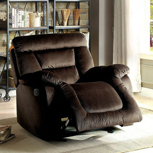 Moira Transitional Glider Recliner, Brown Finish
