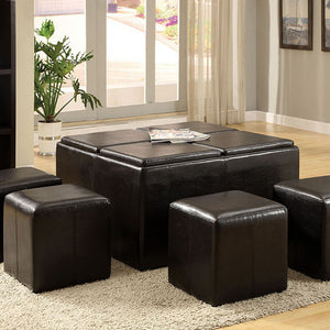Holloway Contemporary Nested Ottoman With 4 Small Cubes & Trays