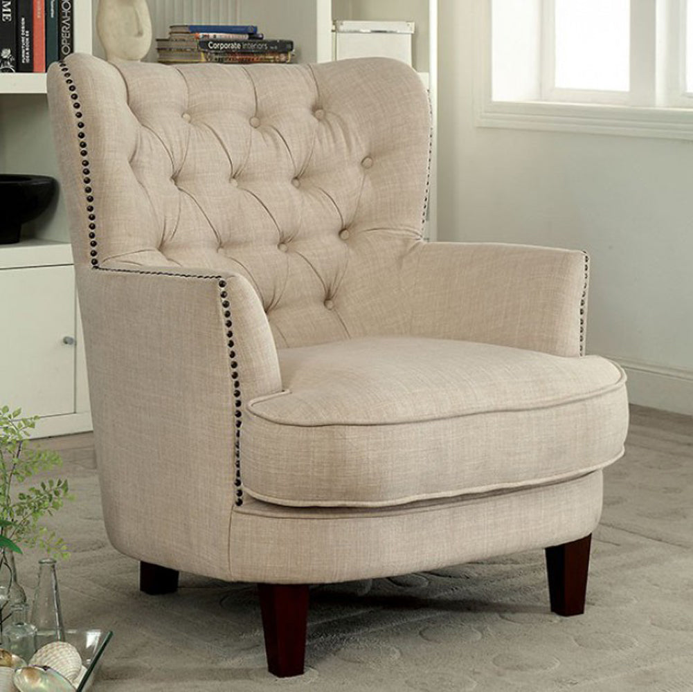 Odelia Contemporary Accent Chair, Ivory Finish