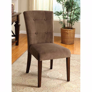 Havana Contemporary Side Chair, Dark Brown Velvet, Set Of 2