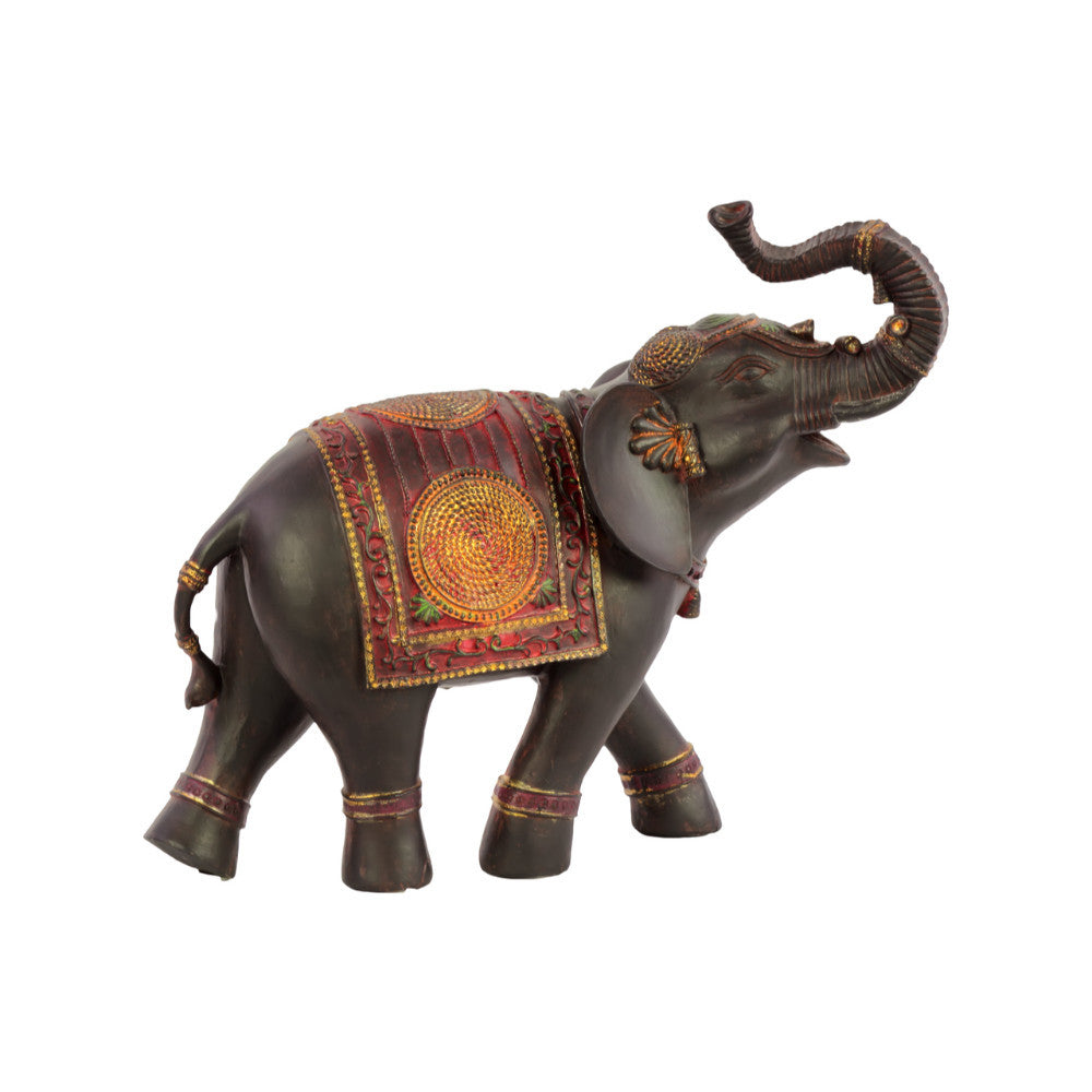 Vibrant Walking Small Indian Elephant Figurine Brown-Benzara