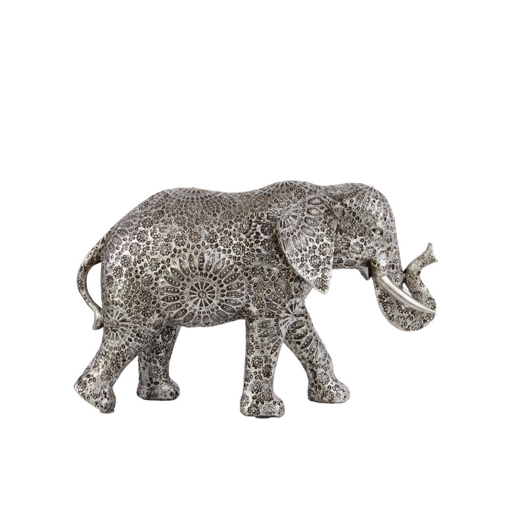 Medium Elephant Figurine with Detailed Floral Engraving -Silver-Benzara