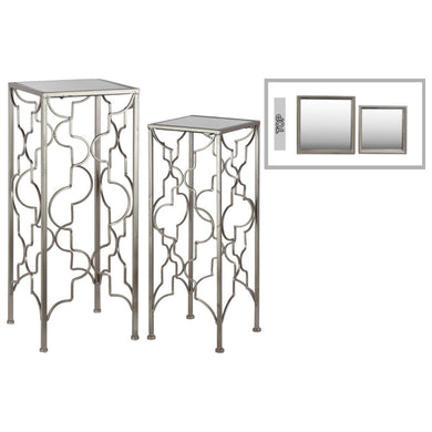 Tall Accent Table with Mirror Top Square Base Set of 2 -Silver-Benzara