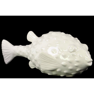 Pufferfish Figurine Gloss Finish - White - Benzara