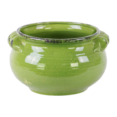 Wide Round Bellied Tuscan Pot with Handles- Large- Green- Benzara