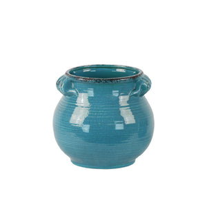 Tall Bellied Tuscan Pot with Handles Distressed- Small- Blue- Benzara