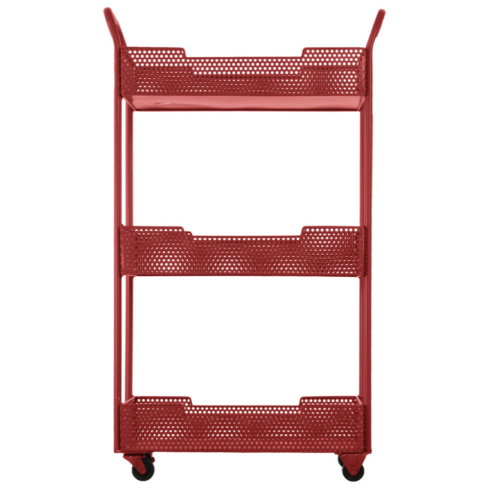 Splendid Metal Tray Stand with Mesh Design-Red- Benzara
