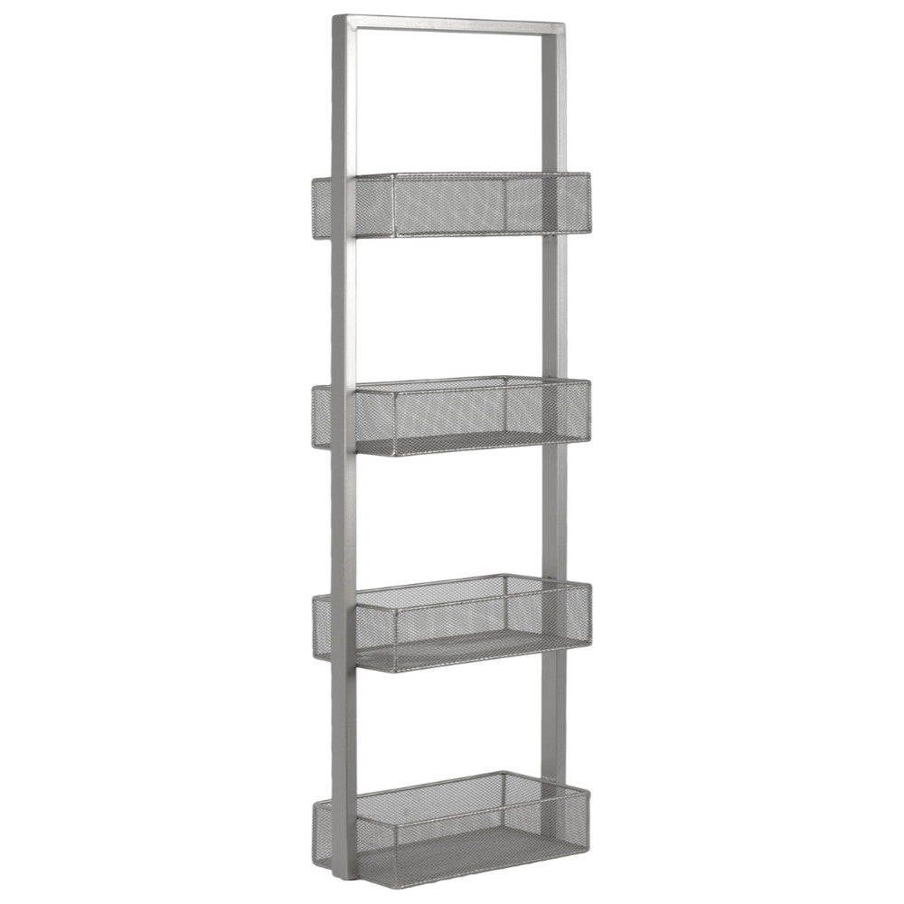 Strong Alluring Iron Shelf with 4 wire Mesh Bins- Silver- Benzara