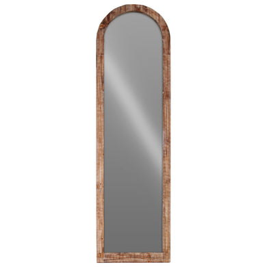 Wood Arched Floor Mirror -Brown- Benzara