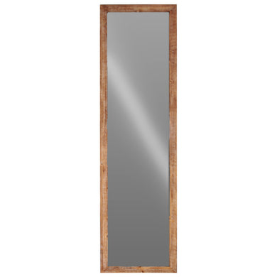 Wood Rectangular Floor Mirror -Brown- Benzara