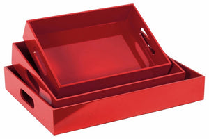 Wooden Serving Tray with Cutout Handles- Set of three- Red- Benzara