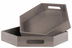 Wooden Hexagonal Tray with Cutout Handles- Set of 2- Gray- Benzara