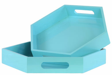 Wood Hexagonal Serving Tray with Cutout Handles, Set of 2-Blue-Benzara