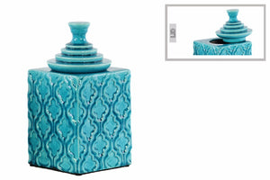 Square Canister with Quaint Pattern and Step Lid- Small- Blue- Benzara