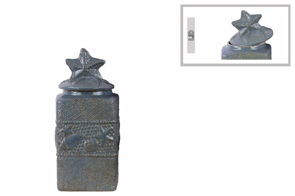 Square Canister with Coated Finish - Small - Blue - Benzara