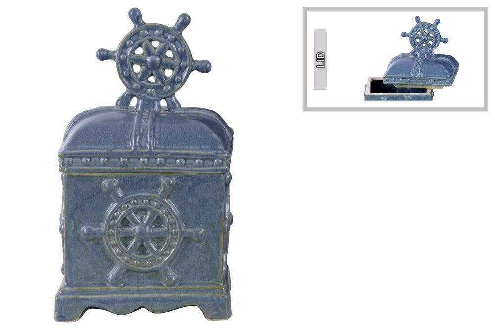 Rectangular Canister with Nautical Wheel Design Body - Blue - Benzara