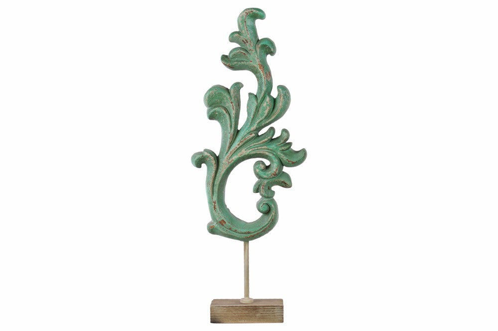 Wood Leaf Abstract Sculpture on Rectangular Stand - Green - Benzara
